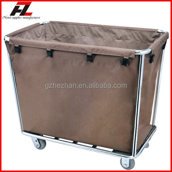 High Quality Hotel Metal Laundry Cart In White Guestroom Cleaning Lanudry With Wheels