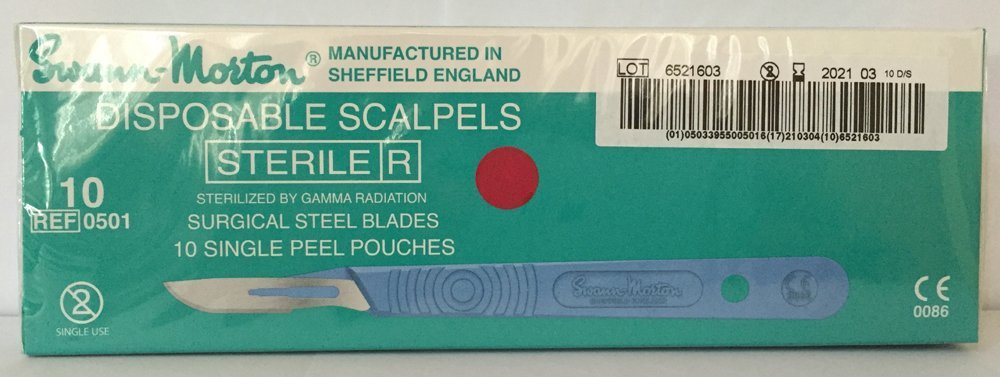 Swann-Morton® #10 Sterile Disposable Scalpels with Blade [individually packed, box of 10]
