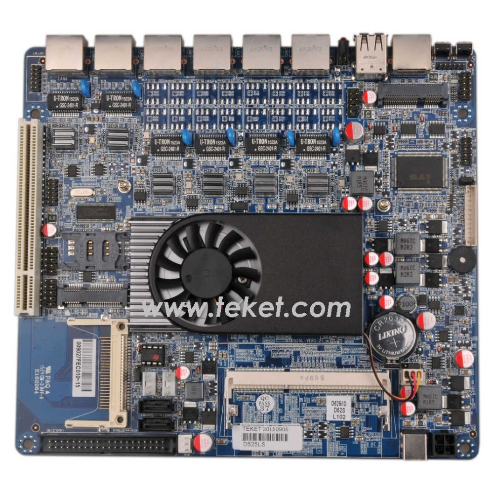 Atom D525 Fire wall mini-itx Motherboard with 6 lan ports