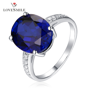 Customized women jewelry Blue NANO 925 sterling silver engagement ring