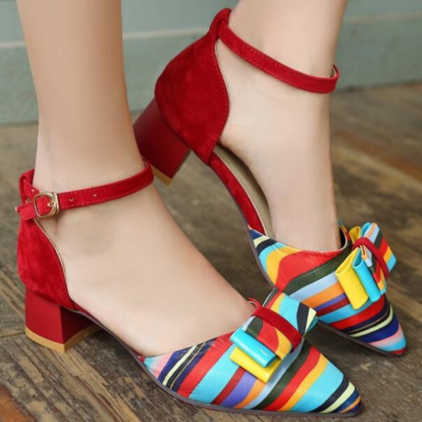 Best selling high quality rainbow ladies chunky heel shoes women's casual bowknot 4cm low heel sandals