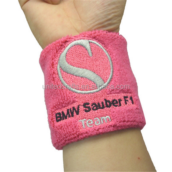 Fashion custom embroidery wrist sweatband/custom logo sports cotton  headband and wristband set