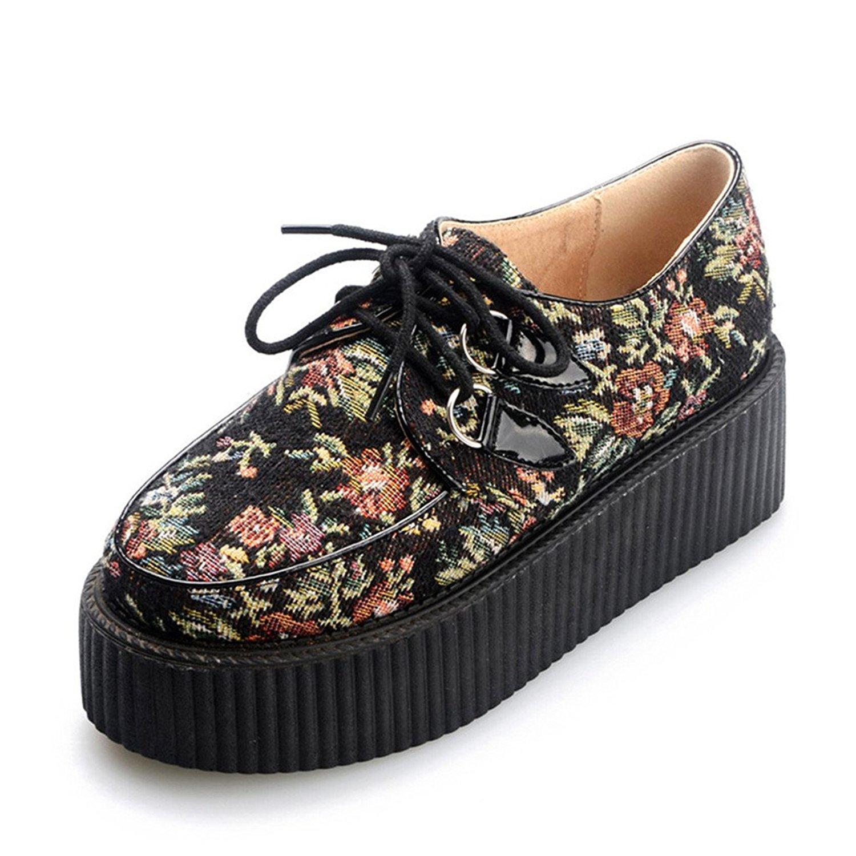 e515e38ed0087 RoseG Women s Handmade Suede Flower Pattern Lace Up Flat Platform Creepers  Shoes