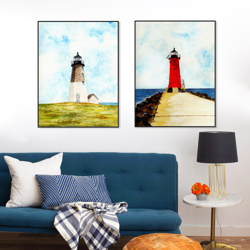 Vintage Watercolor Sea Lighthouse Snow White Horse Poster Living Room Wall Art Print Picture Home Decor Canvas Painting No Frame