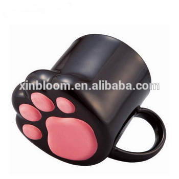 creative cute cartoon animal shaped black and white cat paws porcelain milk coffee mmug with handle