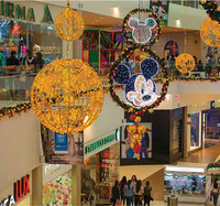 shopping mall atrium hanging cartoon character Mickey Mouse motif decoration