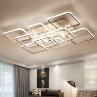 MEEROSEE Modern Minimalist Ceiling Lamp White Acrylic LED Fancy Light Rectangle Shape Chandelier Ceiling MD85440