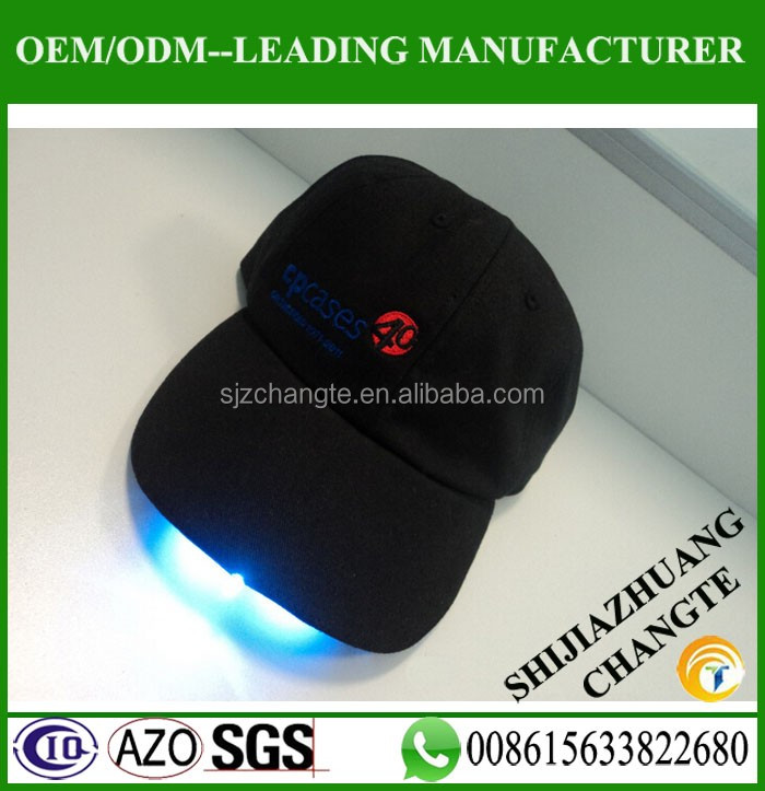 Cotton 6 panel baseball cap with led flashing baseball caps for party