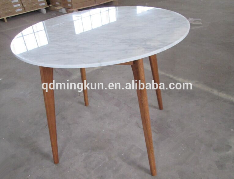 Wooden Leg And Marble Top Round Wood Dining Table