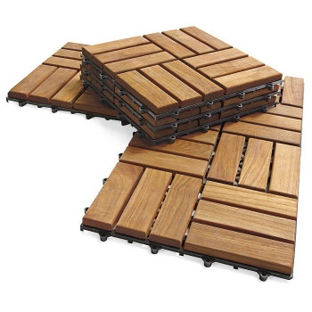 Interlocking Outdoor Deck Tiles Garden Solid Teak Wood Flooring With Plastic Base Tile