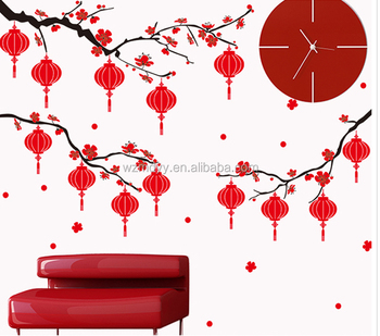 chinese happy new year sticker quotes happy new year wall decals decorative wall stickers china wholesale