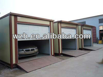 Flat sloping single rolling door low cost prefab modular for Garage low cost