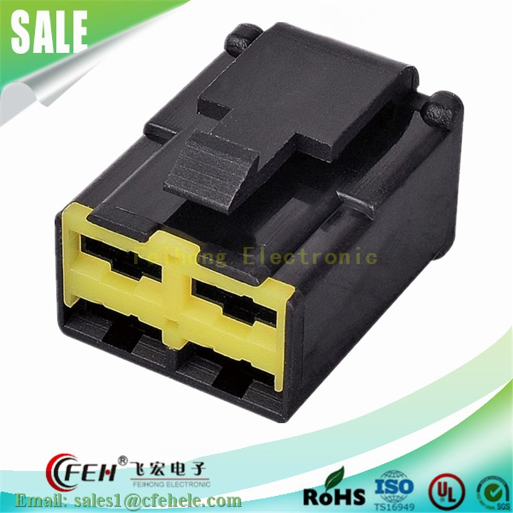 automotive electronic connector 4 pin female black housing