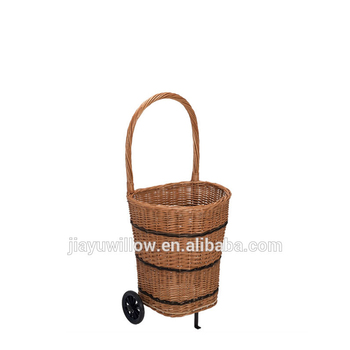 Personal Wicker Ping Cart With 2 Wheels Baskets