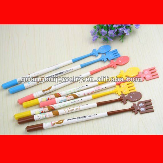 fashion scoop fork pens plastic