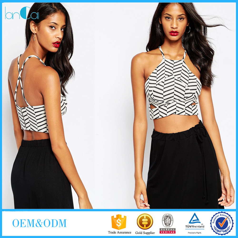 Women clothing Factory Outlet Girls Party Wear sexy Halter Crop Tops