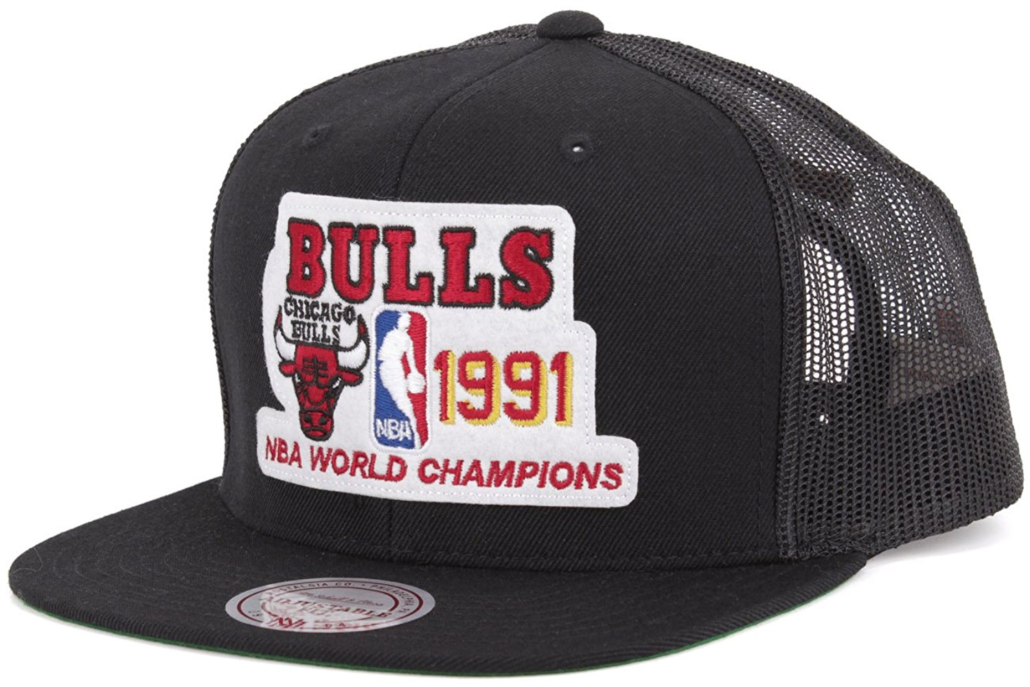 ace14530140 NZ843 Chicago Bulls Black Crown Red Bill Adjustable Snapback Hat. Get  Quotations · Mitchell Ness Chicago Bulls 1991 Championship Mesh Snapback