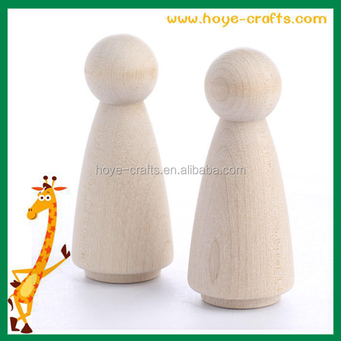 Wholesale wood fashion design unfinished handworked peg doll
