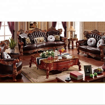 Luxury Antique Royal Style Gold Carved Wood Leather Living Room Furniture  Sofa Set - Buy Leather Living Room Furniture,Wood Furniture Design Sofa ...