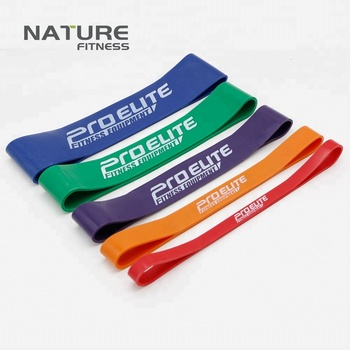 Set of 5 Color Nature Latex Resistance Bands in Strength Training Fitness Pull Up Strengthen Muscles
