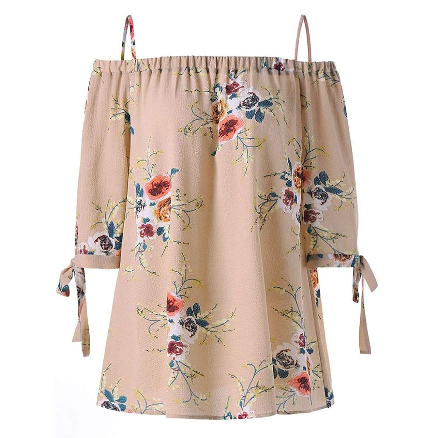 BCDshop Womens Loose Floral Shirts Off Shoulder Blouse Casual Fashion Summer Tops