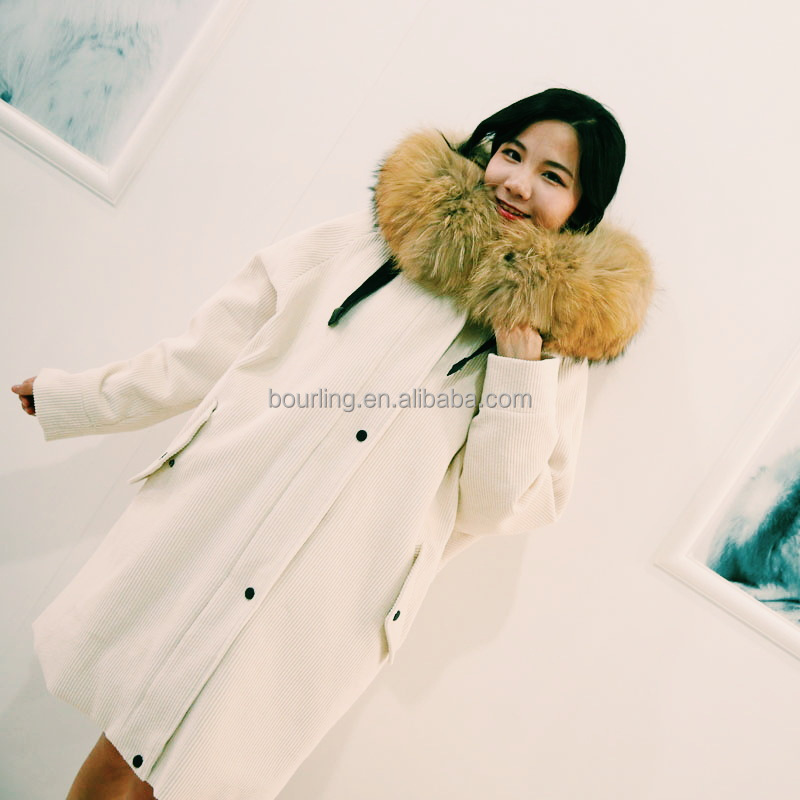 Big raccoon fur hooded parka chic corduroy fabric unisex fur parka