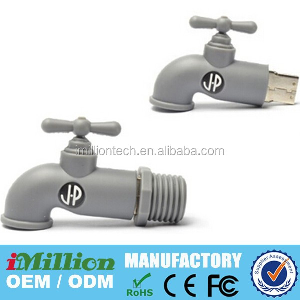 Promotions custom mold 3d water tap usb pen drives, Wholesale PVC Water-tap Pen Drive USB Driver 2gb/4gb/8gb/16gb/32gb USB 2.0