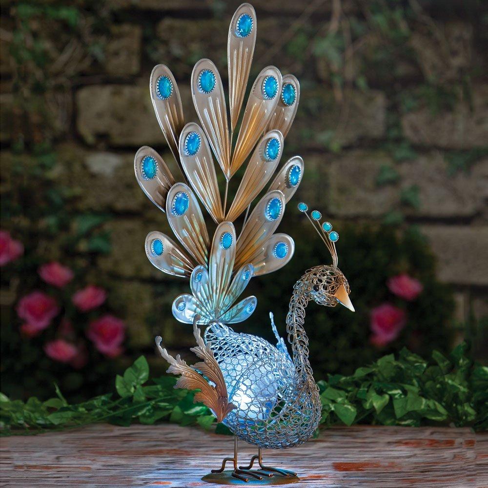 Get Quotations · Bits And Pieces Solar Peacock Metal Sculpture Very  Beautiful Garden Sculpture Garden Décor Polyresin