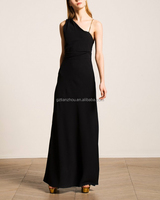 Guangzhou factory clothing apparel OEM gold chain elegant floor-length ONE-SHOULDER BLACK GOWN