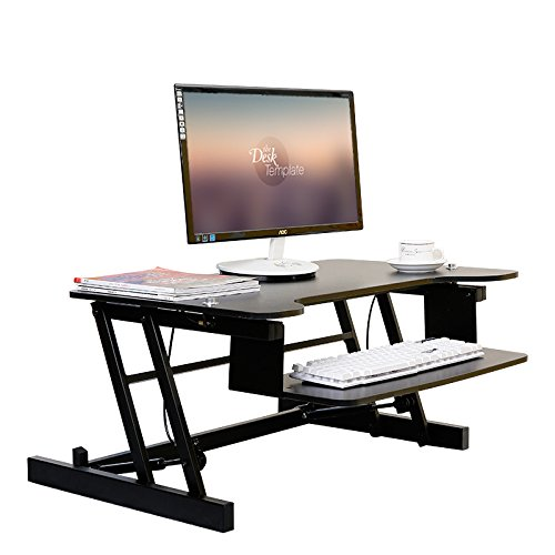 VEVOR Height Adjustable Standing Desk Riser Dual 2 Monitor - 31.6 X 20 Inch - Sit Stand Up Desk Elevating Desktop with Built-in Keyboard Tray Stand Up Desk Converter for Home or Office (Dual Monitor)