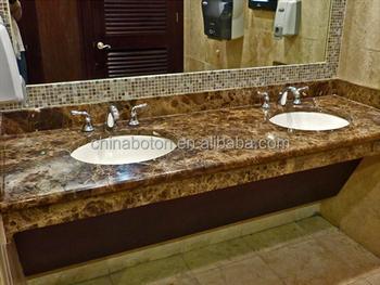 Bathroom Countertops With Built In Sinks Dark Brown Marble Tile Countertop