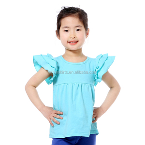 2019 Casual Design Children Clothing Summer Toddler Girls Blank Ruffle Shirts