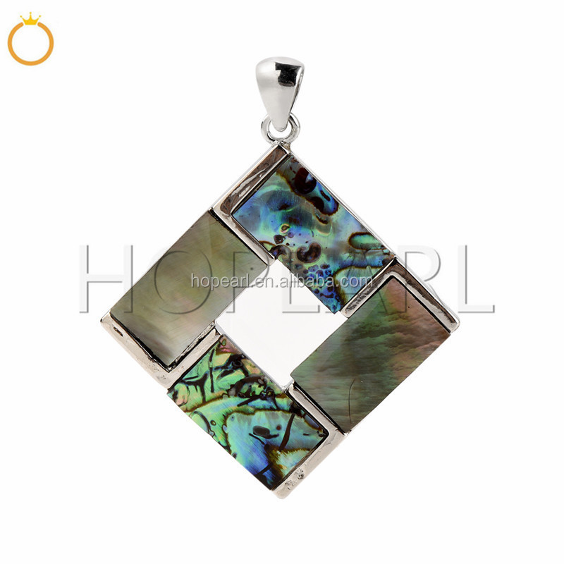 MOP174 Rhombus Pendant Peacock Abalone Shells and Black Shells Beach Jewelry