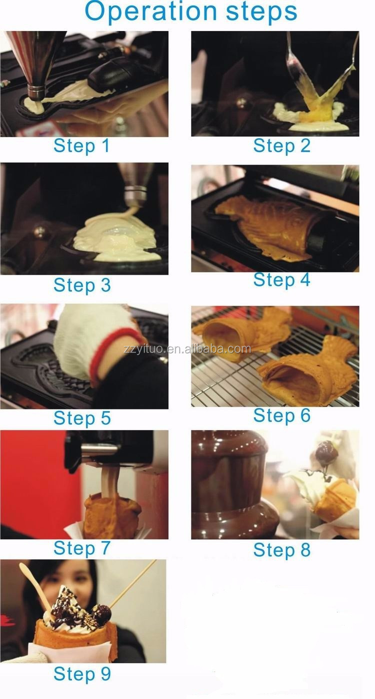 China Suppliers Fish Shape Taiyaki Machine / Taiyaki Making ...