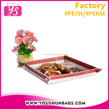 Eco-friendly Durable PU Food Storage leather desk tray