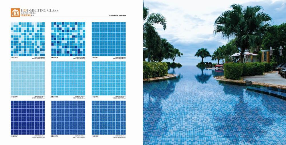 Non slip hot melting blue color glass swimming pool tile - Non slip tiles for swimming pools ...