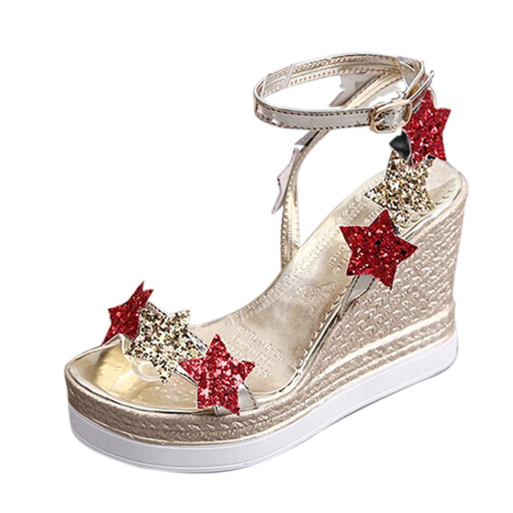 1750bf53a20a06 Get Quotations · Women Wedges Sandals Leedford Summer High Platform Heel  Peep Toe Cut Out Wedges Chunky Comfort Outdoor