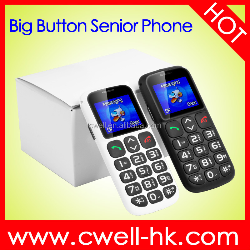 W105 1.77 inch TFT Screen Big Button White Senior <strong>Phone</strong> with SOS Button Torch and Charging Cradle For Old Age People