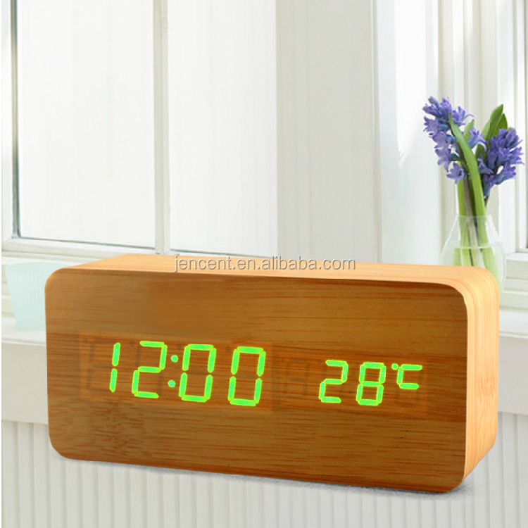 Desktop Table Clocks LED Alarm Wood Wooden Digital stand clock with temperature display in green blue white red color