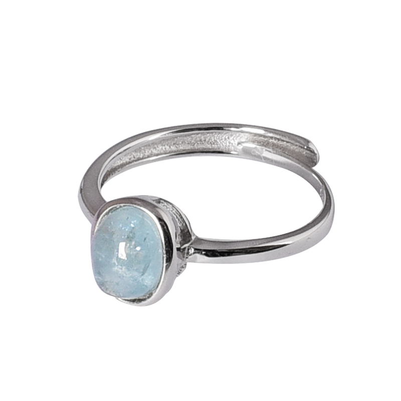 CYMO Classic style 925 sterling silver ring simple design wedding ring engagement ring with Single aquamarine stone