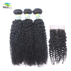 Best Aliexpress Cuticle Aligned Mink Curly Human Hair With Closure, Wholesale Unprocessed 3 Virgin Brazilian Hair Weave Bundles