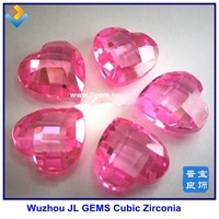 Beautiful Lab Created Pink Heart Double Face Checkerboard CZ Gemstones with Grade AAA,gem buyers in china,checker cut gems