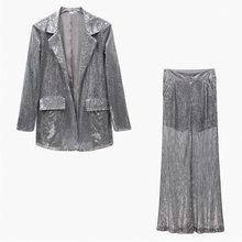 Женский костюм-двойка TWOTWINSTYEL, летний костюм с блестками, пиджак с длинным рукавом, топ с высокой талией и широкими брюками, 2020(Китай)