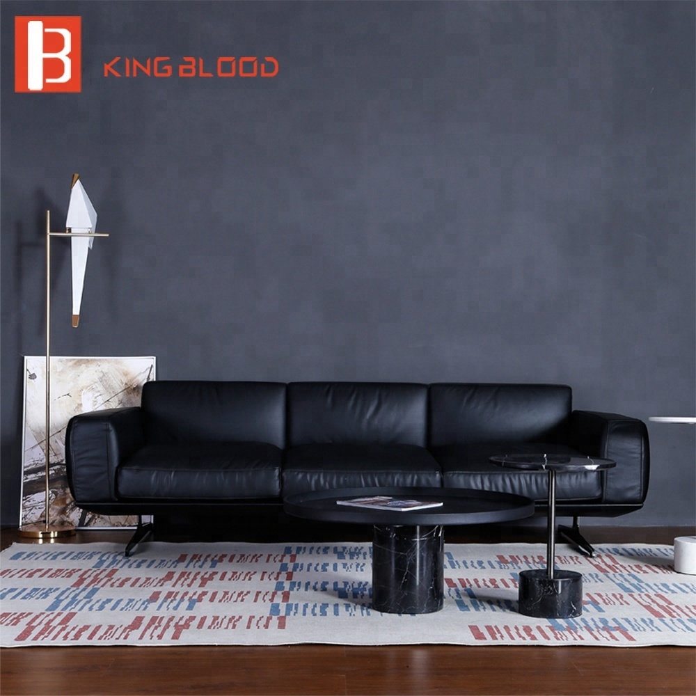 - Italy Modern Living Room Design 3 Seater Genuine Leather Couch