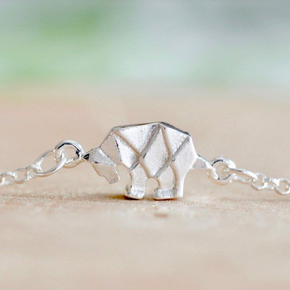 Sterling Silver 7 4.5mm Charm Bracelet With Attached Right Facing Walking Grizzly Bear Charm