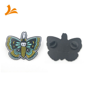 custom lapel pin soft enamel butterfly dyed black metal