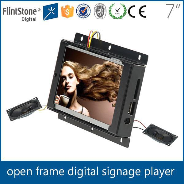 "FlintStone indoor advertising led tv display point of purchase display 7"" open frame usb movie player"