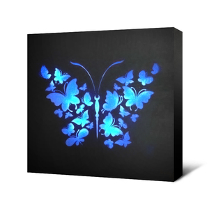 Butterfly blue light LED picture art fiber optic wall decoration art LED MDF wall art