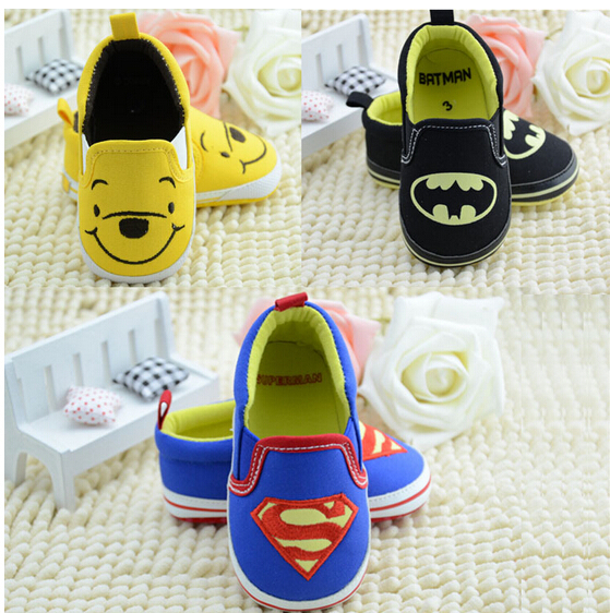 1 pcs Retail frist walker superman batman tigger cartoon baby shoes boys girls summer spring autumn newborn infant sapatos