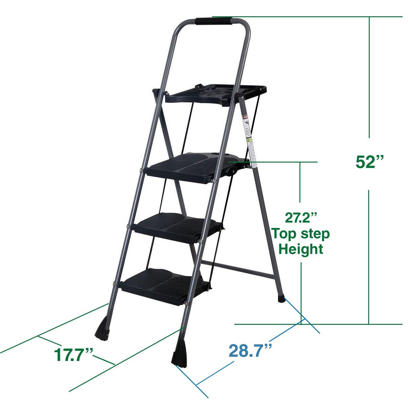 Get Quotations 3 Step W Work Tray 45FT Ladder Platform Lightweight Folding Stool 330 LB Cap